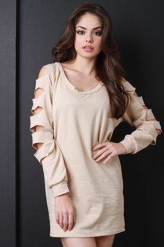 Slashed Sleeve Sweater Dress