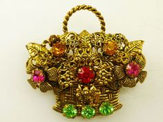 Vintage Czech Glass Dimensional Flower Basket Brooch
