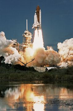The Space Shuttle Discovery blasts off from Cape Canaveral on 29 September 1988.