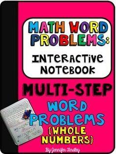 Multi-Step Word Problems Interactive Notebook Freebie!