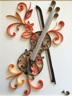 The Violin made with the quilling technique. Paper Quilling For Beginners, Paper Quilling Tutorial, Paper Quilling Patterns, Origami And Quilling, Neli Quilling, Quilled Paper Art, Quilling Paper Craft, Quilling Techniques, Quilling Flowers
