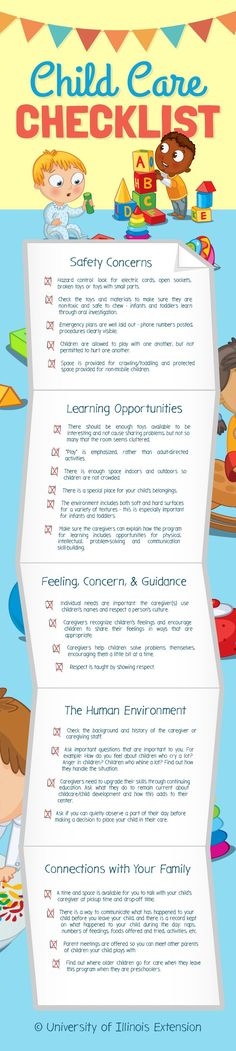 Child Care Checklist — great resource for parents of infants or toddlers looking for a day care provider! #infographic