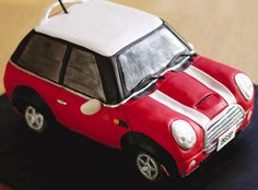 "Mini Cooper Groom's Cake - Perk his interest in the wedding details with a cake that's all about him - Mr. Motor Head Gift your guy with a ""mini"" snazzy sports car cake. Cake design by I Dream of Cake."