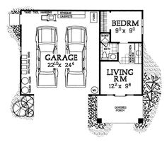 I love this 2 car, single story garage with living space for a guest house