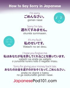"""Apologizing in Japan is more than just saying you're sorry, it's also about being polite. Today's post is all about apologizing in Japanese. Learn 5 different ways to apologize other than """"Gomennasai"""". 🇯🇵 Try for FREE and become fluent. Basic Japanese Words, Japanese Phrases, Study Japanese, Japanese Culture, Learning Japanese, Japanese Sentences, Sms Language, Korean Language, Language Study"""