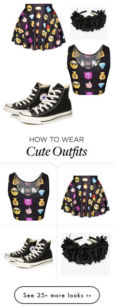"""""""Outfit 67 - Emoji Queen"""" by derpygurl on Polyvore featuring Converse"""