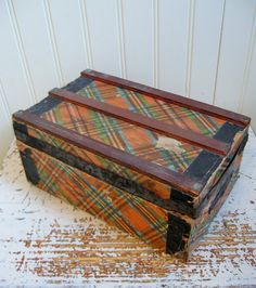 Antique Doll Trunk Plaid Doll Case Antique Toy Home by PoemHouse