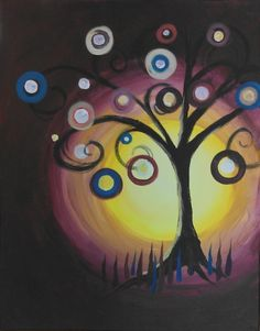 Tree Of Mystery - a painting at Painting Escapes in Downtown Plymouth,MI. Painting Escapes is art entertainment. Want a fun evening out? Want an unforgettable experience?  Our instructors guide you through every brush stroke to create your own masterpiece! Private Parties,Birthdays,Girls Night Out, Date Nights, Bachelorettes, Showers, Retirements, Team Building. We specialize in THEME PARTIES. Let's talk about your vision and create a Painting Escape! www.paintingescapes.com