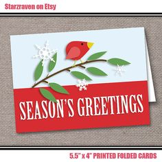 Red Holiday Bird Folded Christmas Cards - 6 to 250 PRINTED - Modern bird on branch
