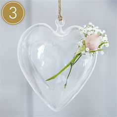 Contempo Glass Heart Vase, Set of 3