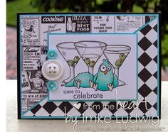 """FUN Birthday card. Using a From the Heart Stamp Digital Stamp called """" Martini Chicks"""" >>>Shop>>> http://fromtheheartstamps.com/shop/birdbrain-chick/32-martini-chicks.html?search_query=martini+chick&results=1"""