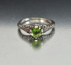 Vintage Sterling Silver Filigree Peridot Ring by boylerpf on Etsy
