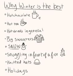 it's not the best! but I like this list, it summs up pretty much everything I like about winter ^^ and now it doesn't even seem that bad