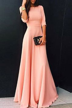 Womens's Stylish Round Neck 3/4 Sleeve Pure Color Dress Maxi Dresses | RoseGal.com Mobile