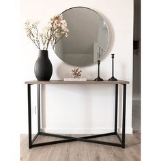Modern Entry Table, Modern Entryway, Small Entryway Decor, Black Entryway Table, Modern Console Tables, Modern Decor, Console Table Styling, Console Table With Mirror, Foyer Mirror