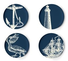Nautical Scrimshaw Dinner Plates $40