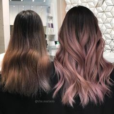 by Hair Awards Finalist che. Brown Hair Balayage, Hair Color Balayage, Hair Highlights, Rose Gold Balayage Brunettes, Black Hair Pink Highlights, Color Highlights, Hair Dye Colors, Ombre Hair Color, Hair Color For Black Hair