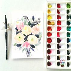 #calligrafikas #grafikaflora #botanicalwatercolor Paper: Canson 200gsm Paint: Daniel Smith, Winsor & Newton, Shin Han Korean watercolors Brush: Silver Brush Black Velvet round no 10
