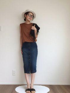 kuukoさんの(GU)を使ったコーディネート デニムスカート outfit denim skirt coordinate #ootd styling style