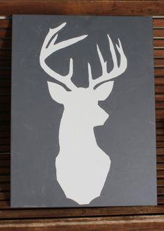projects ideas dear head. Hand painted Deer head silhouette on canvas by Justthewoods  55 00 deer Artsy