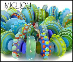 MICHOU- lampwork beads ♥ Ocean color Happy Pills ♥ (59) SRA | eBay