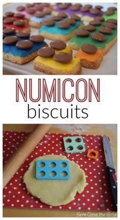 Numicon Biscuits - a great recipe for cooking with kids which helps with your math. Looks like a lego cookie treat or snack. Maths Eyfs, Eyfs Classroom, Preschool Math, Teaching Math, Teaching Ideas, Kindergarten, Numicon Activities, Nursery Activities, Birthday Activities