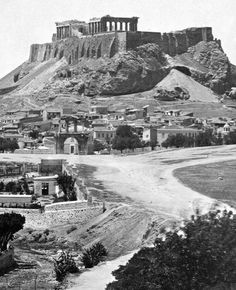"gemsofgreece: ""The first photo of the Acropolis of Athens, The photo was taken by Paul Baron des Granges. Athens Acropolis, Parthenon, Athens Greece, Old Pictures, Old Photos, Greece Pictures, Greece Tattoo, Greece Mythology, Greece History"