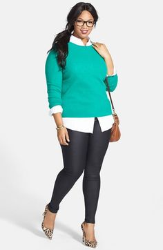 Halogen® Cashmere Crewneck Sweater, Foxcroft Shirt & City Chic Stretch Skinny Jeans (Plus Size) available at #Nordstrom