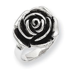 Stainless Steel Antiqued Flower Ring SR181