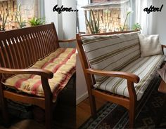 Bench cushion cover made from IKEA Signe rugs - IKEA Hackers