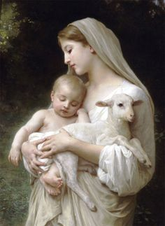 """""""Madonna and Child with Lamb"""" ~ William-Adolphe Bouguereau (1825-1905), French Academic Painter & Traditionalist ....                                                                                                                                                      More"""