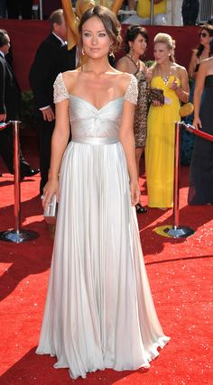 Olivia Wilde Emmys Short Sleeves Red Carpet Dress
