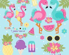 Art Tropical, Tropical Party, Flamingo Birthday, Flamingo Party, Planner Stickers, Diy Stickers, Illustrator, Summer Clipart, Freebies