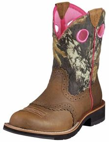 Ariat Women's cowboy boots in distressed brown, I'd love this if they weren't pink inside, yuck!