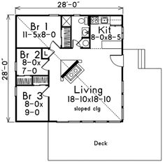Three Bedroom 900 square foot house plans | 900 sq ft three bedroom and bathroom