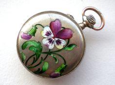Antique Enamel Flower Pocket Watch Ladies Pansy