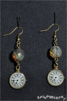 earrings  steampunk watch pendant clock face white von SpinnWeben, €9.00