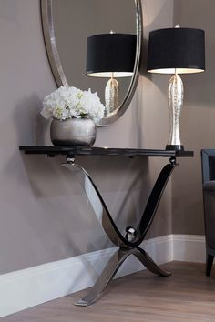 A stunning elegant touch from our CASPIAN luxury console table. Whether placed i… – [pin_pinter_full_name] A stunning elegant touch from our CASPIAN luxury console table. Elegant Home Decor, Luxury Living Room, Modern Room, Luxury Console, Luxury Living, Home Decor, Modern Decor, Living Decor, White Furniture Living Room