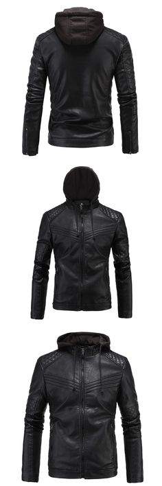 Black PU leather motorcycle jacket best-selling mens clothing motor leather jackets for men mens leather jackets and coats