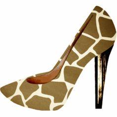 Giraffe Print Fashion Shoe 3D Acrylic Ornament Cut Out