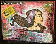 Mixed media canvas using gardenia stencil by prima