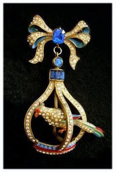 Staret Famous Bird (Parrot) in a Gilded Cage Brooch