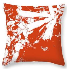 Decorative Pillow Trumpet Vine Red White Janice Knauss, polyester square 14x14 #JaniceKnaussDesigns #Contemporary