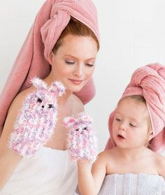 Mom & Me Bunny Scrubby Mitts
