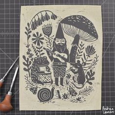 Andrea Lauren (@inkprintrepeat) | Refining this linocut after a few test prints | Intagme - The Best Instagram Widget