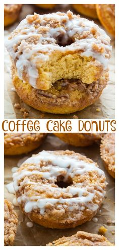Coffee Cake Donuts topped with Vanilla Glaze! Ready in less than 30 minutes. Coffee Cake Donuts with Vanilla Glaze - Baked, not fried, these Coffee Cake Donuts are ready in less than 30 minutes. The Vanilla Glaze makes them irresistible! Baked Donut Recipes, Baking Recipes, Cake Recipes, Dessert Recipes, Fried Cake Donut Recipe, Baking Desserts, Healthy Baked Donuts, Dunkin Donuts Recipe, Best Donut Recipe