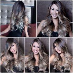 Perfectly melted ASH OMBRÈ: From dark ash brown to dark ash blonde to platinum ends. Hair by Guy Tang