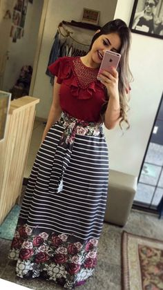 I love a long skirt Modest Outfits, Skirt Outfits, Modest Fashion, Hijab Fashion, Dress Skirt, Casual Dresses, Casual Outfits, Fashion Dresses, Trendy Dresses