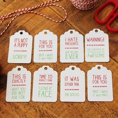 Set of 8 Reality Christmas Gift Tags with Twine / Christmas Tag Pack / Funny Christmas Tags / Holiday Gift Tags / Xmas Tags by Polskadotty on Etsy Funny Christmas Gifts, Noel Christmas, Christmas Gift Wrapping, Christmas Humor, Christmas Presents, Holiday Gifts, Christmas Crafts, Christmas Decorations, Funny Christmas Messages