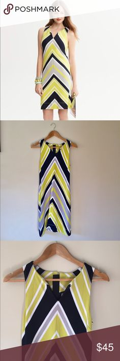"""Milly x Banana Republic lime chevron tank dress This beautiful dress is a collaboration with Milly Clothing and Banana Republic. Vibrant, vintage inspired print, great condition. 89% rayon, 9% nylon, 2% spandex.  35"""" long  14"""" armpit to armpit   Ships from Hawaii 🌺 No trades 😇 Reasonable offers welcome 👍🏻 Bundle & save 💰 Banana Republic Dresses"""